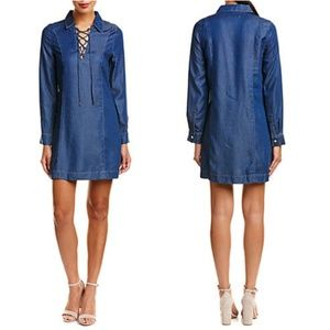 •7 For All Mankind• NWT Lace-Up Denim Shift Dress